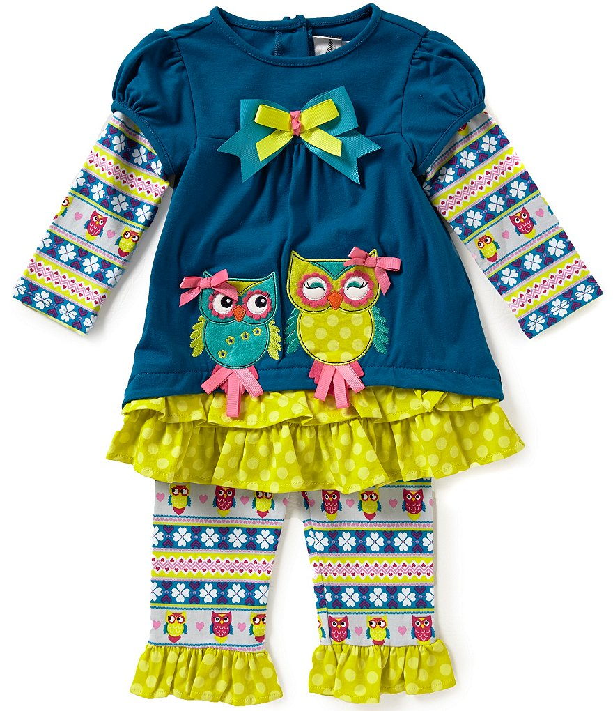Rare Editions Baby Girl 12-24 Months Owl-Appliqued Mixed-Media Top & Leggings Set