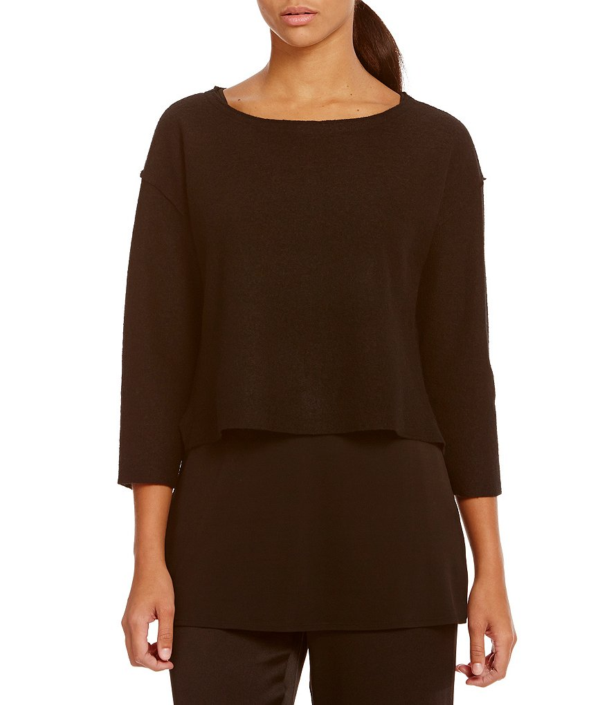 Eileen Fisher Petites Bateau Neck Lightweight Boiled Wool Box Top