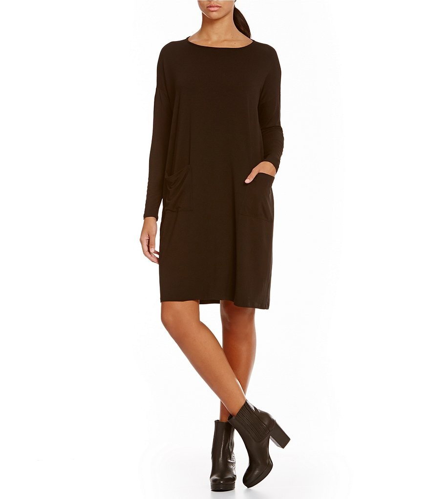 Eileen Fisher Petites Ballet Knee Length Front Pocket Dress