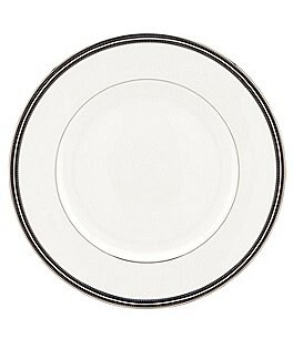 kate spade new york Union Street Striped & Dotted Platinum Dinner Plate Image