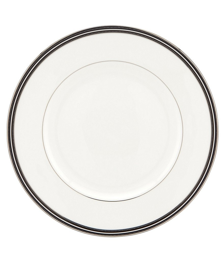 kate spade new york Union Street Striped & Dotted Platinum Dinner Plate