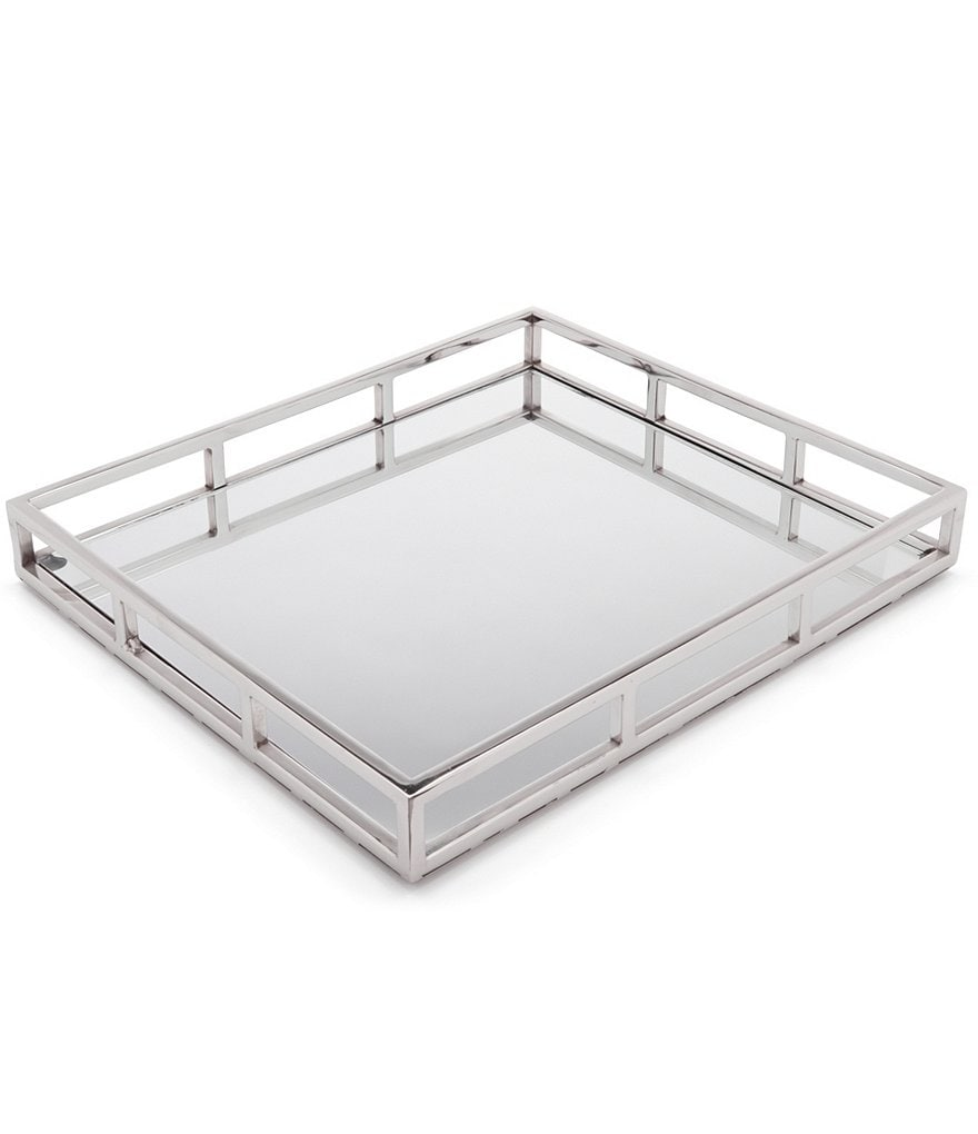 Southern Living Mirrored Stainless Steel & Glass Tray