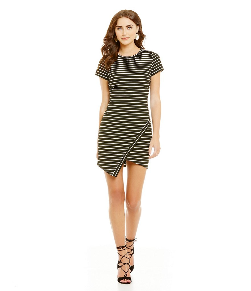 Sugarlips Asymmetrical Hem Short Sleeve Striped Bodycon Dress