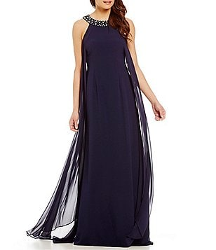 Vince Camuto Beaded Chiffon Gown