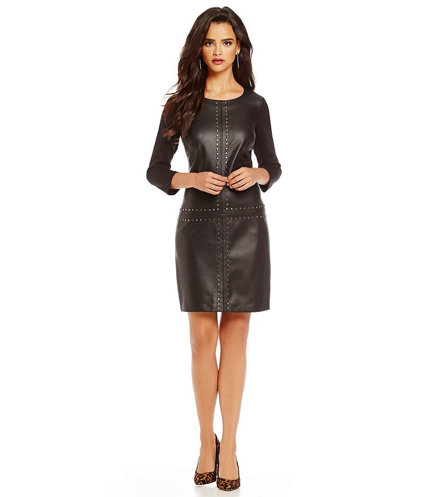 Laundry By Shelli Segal T-Body Faux-Leather Front Stud Detail Shift Dress