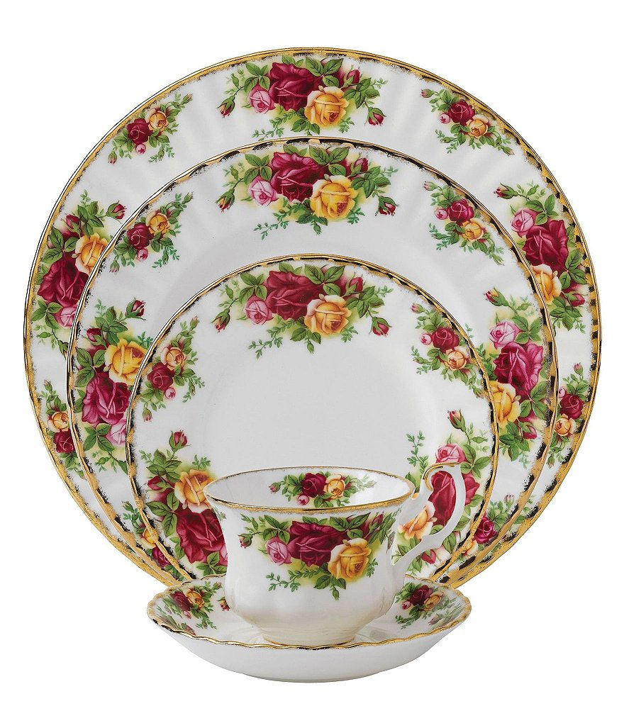 Royal Albert Old Country Roses Vintage Floral Bone China 5-Piece Place Setting