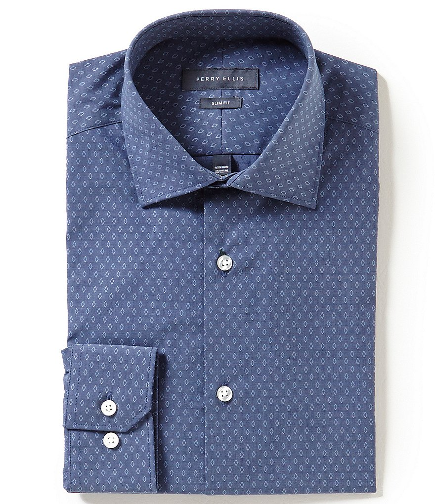 Perry Ellis Non-Iron Slim-Fit Spread-Collar Denim Dobby Pattern Dress Shirt