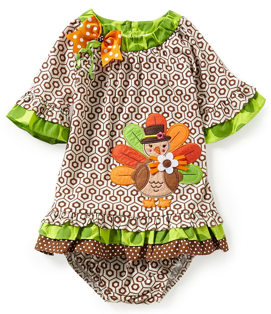 Rare Editions Baby Girls 12-24 Months Thanksgiving Turkey-Appliquéd Geometric-Printed Dress