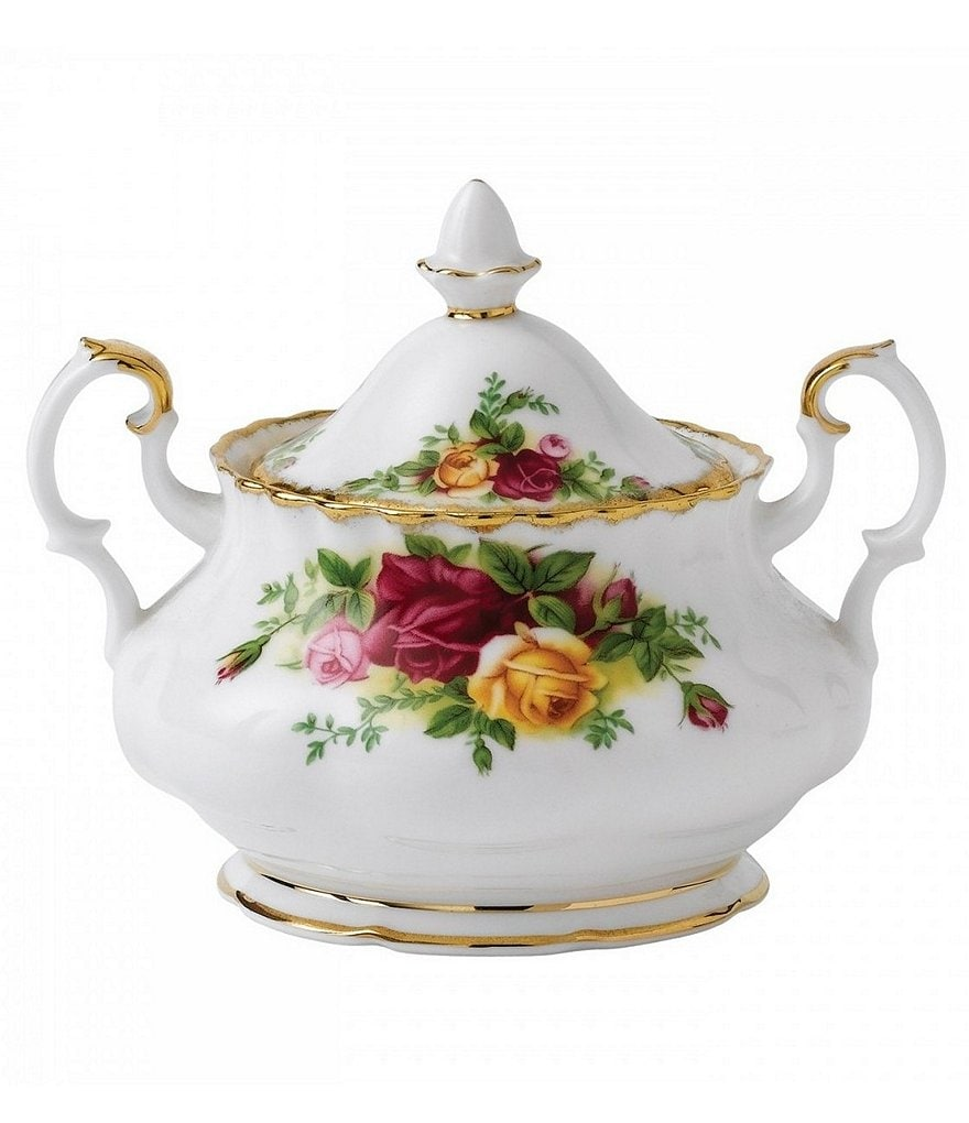 Royal Albert Old Country Roses Vintage Floral Bone China Sugar Bowl with Lid