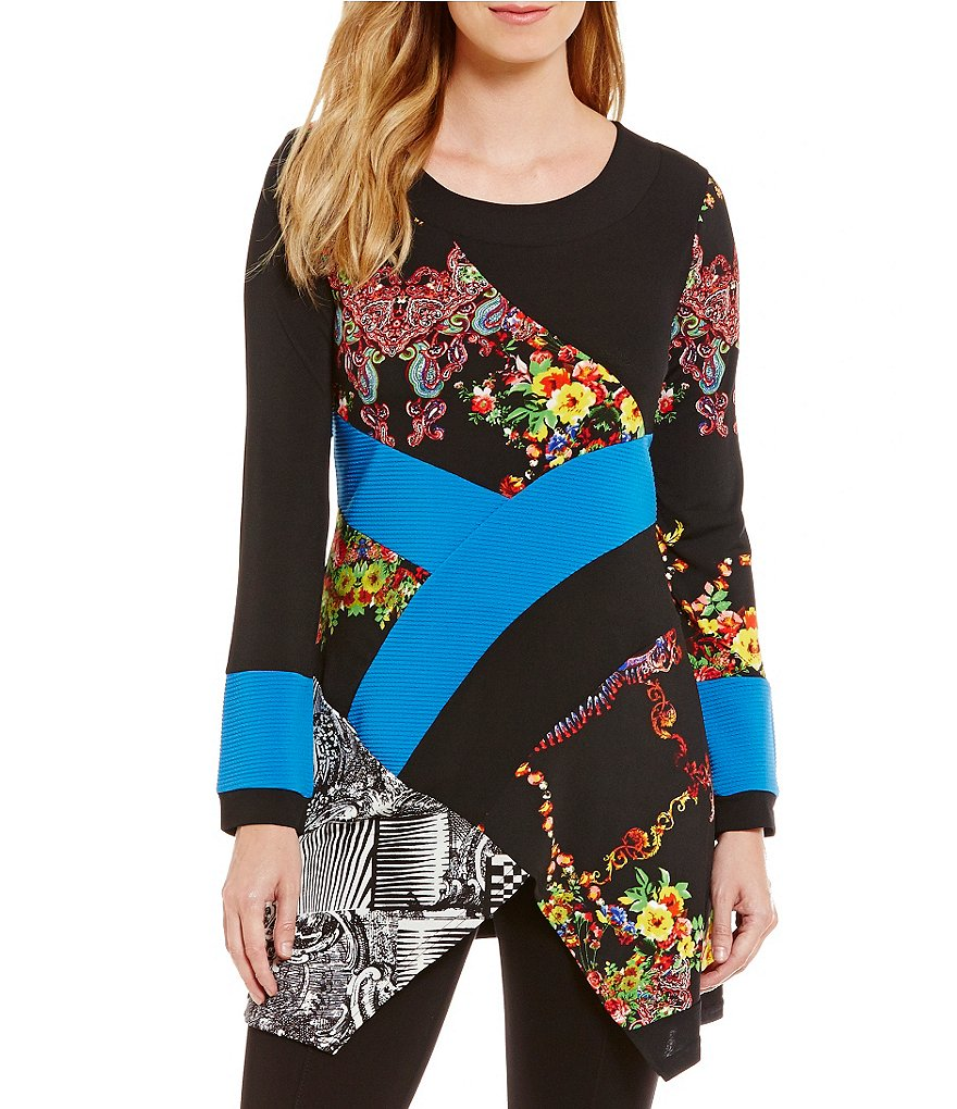 Calessa Antique-Print Long Sleeve Tunic