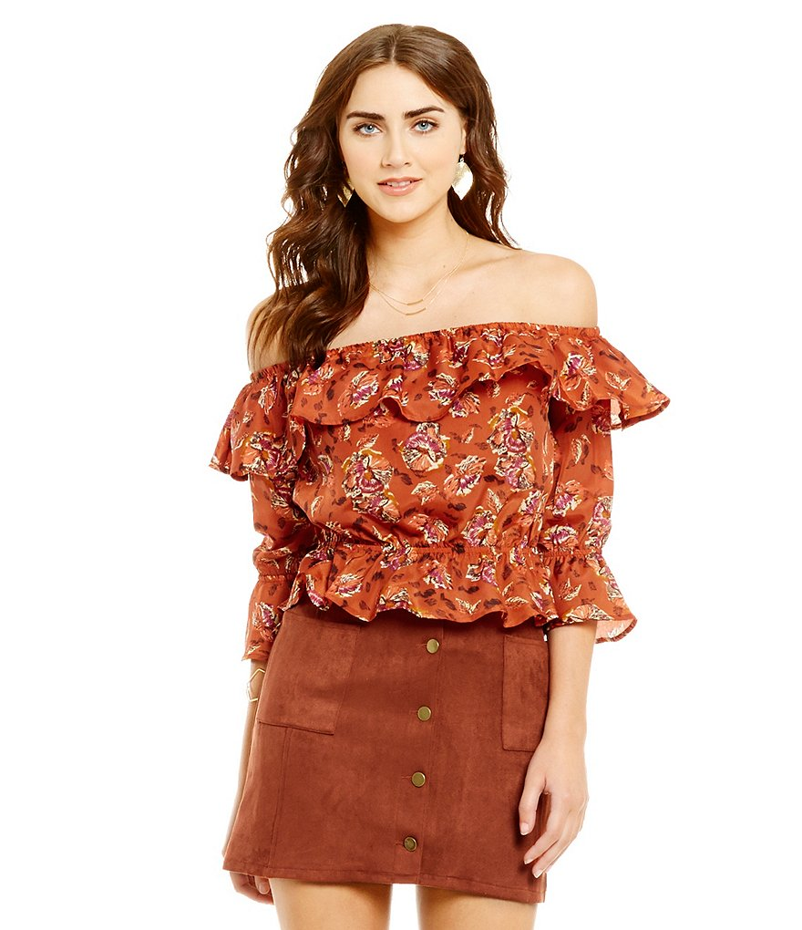 J.O.A. 3/4 Sleeve Off the Shoulder Ruffle Top