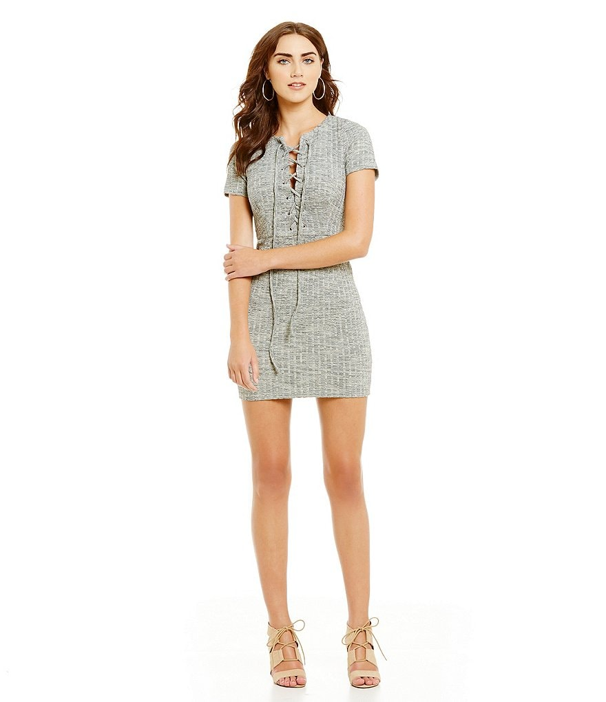 J.O.A. Ribbed Knit Lace-Up Short Sleeve Dress