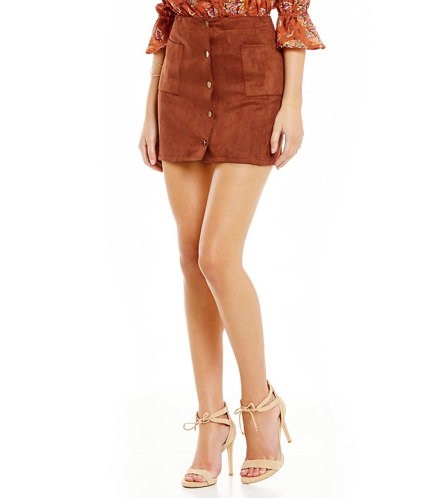 J.O.A. Faux Suede Button Front Pencil Mini Skirt