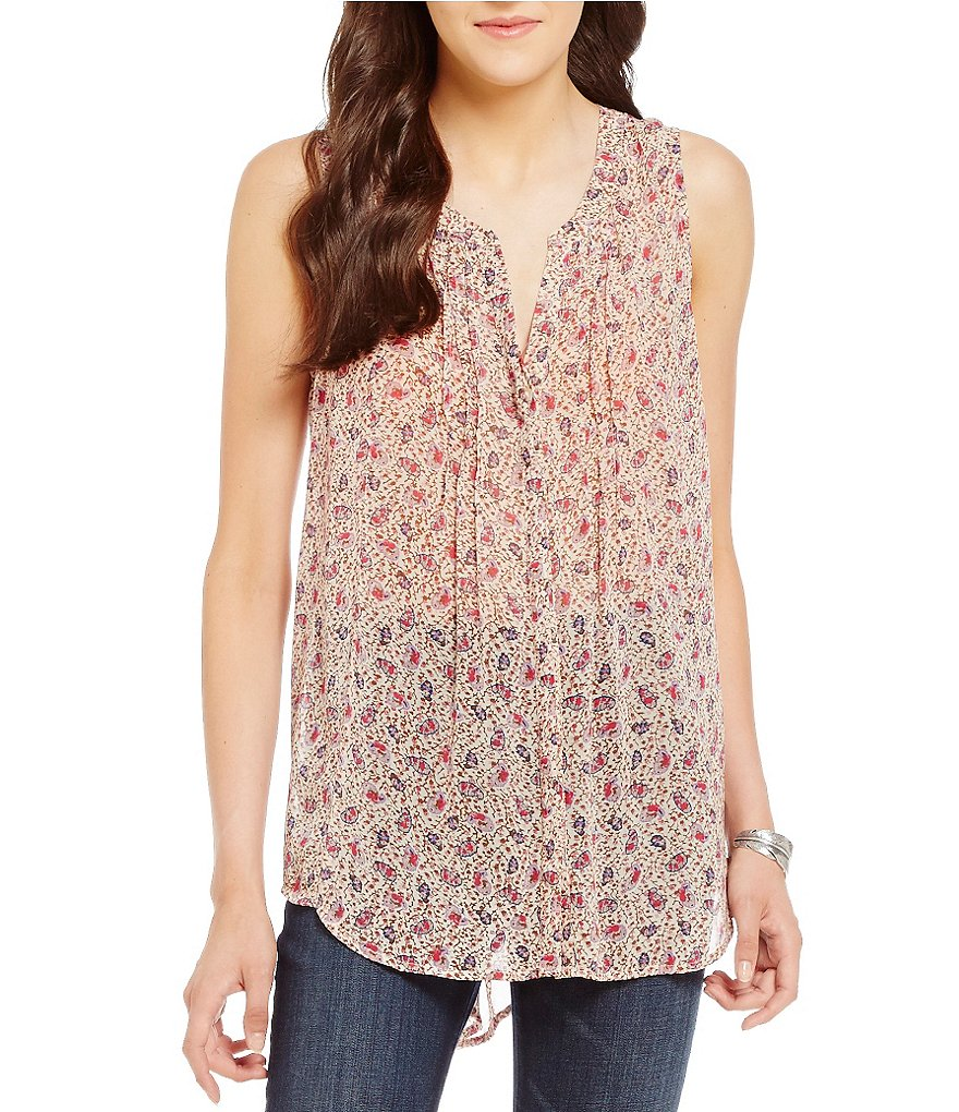 Lucky Brand Ditsy Paisley Print Sleeveless Top