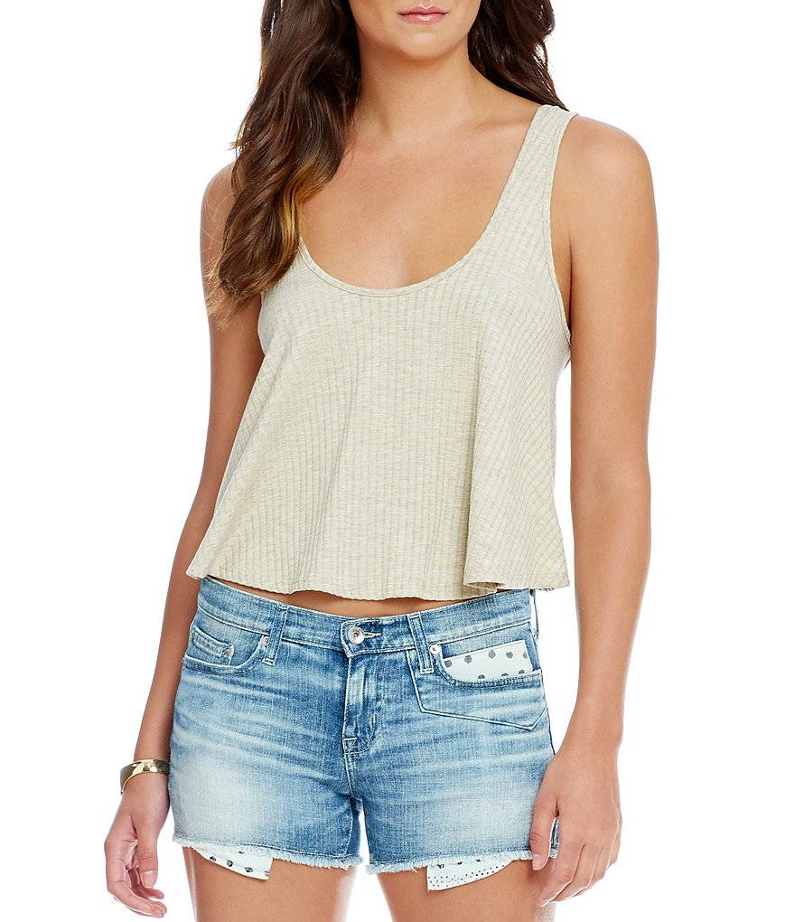 Soprano Solid Rib-Knit Cropped Swing Tank Top