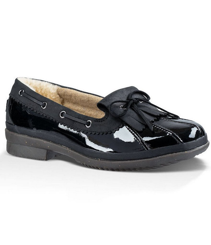 UGG® Haylie Bow Detail Waterproof Patent Leather Duck Shoes