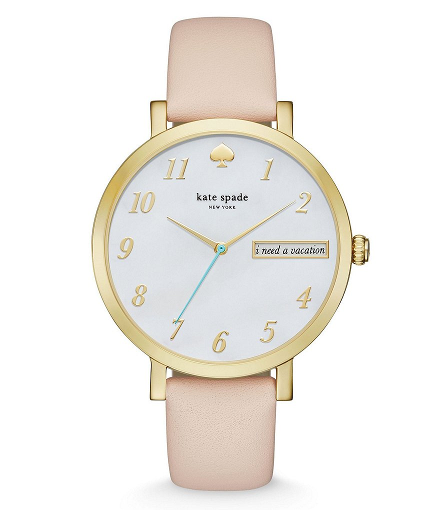 kate spade new york Monterey Leather Strap Stainless Steel 3 Hand Analog Watch