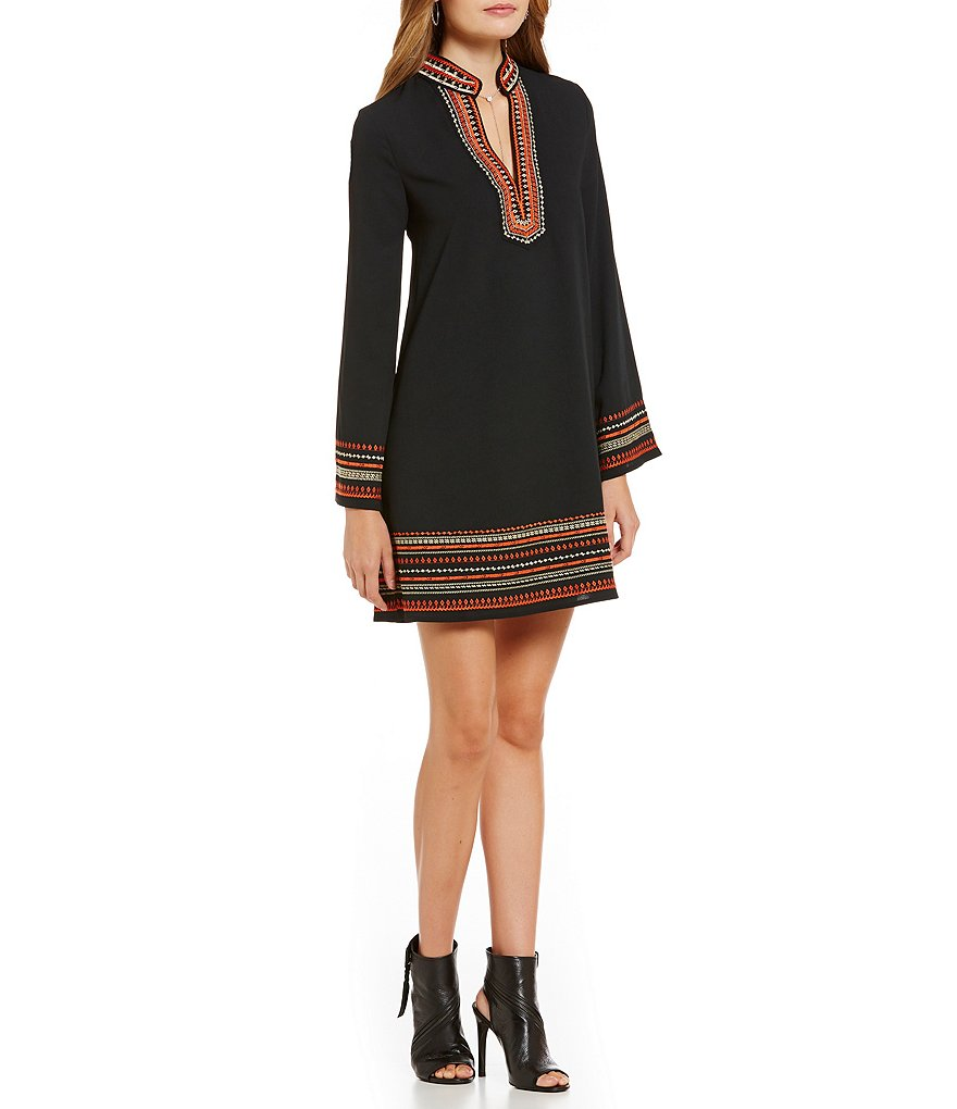 Sugarlips Embroidered Long Sleeve V-Neck Dress