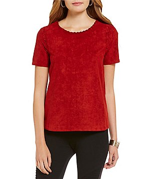 Sugarlips Faux-Suede Short Sleeve Top