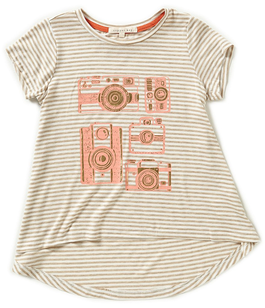 Copper Key Big Girls 7-16 Stripe Camera Tee