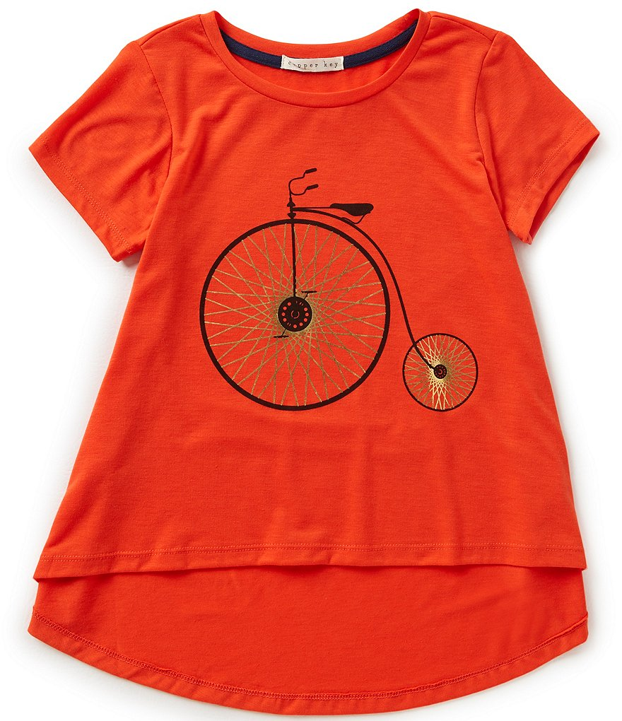 Copper Key Big Girls 7-16 Short Sleeve Bicycle Knit Tee