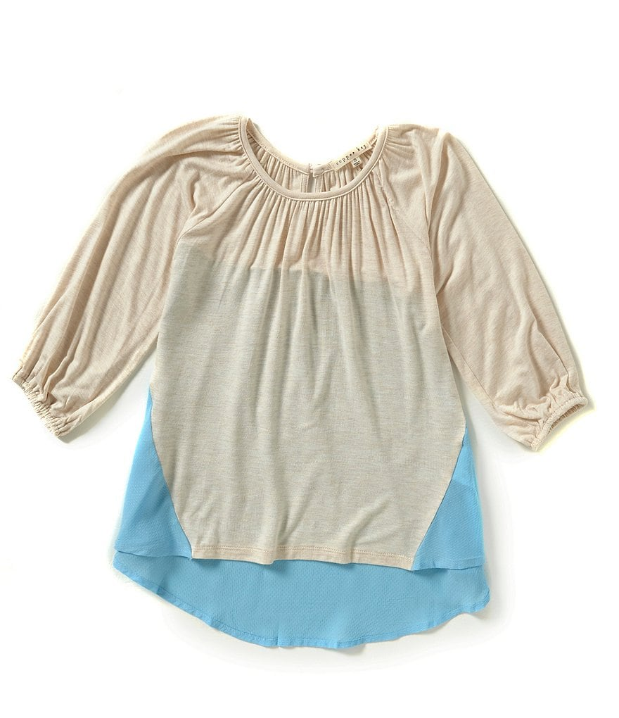 Copper Key Big Girls 7-16 Knit to Woven Peasant Top