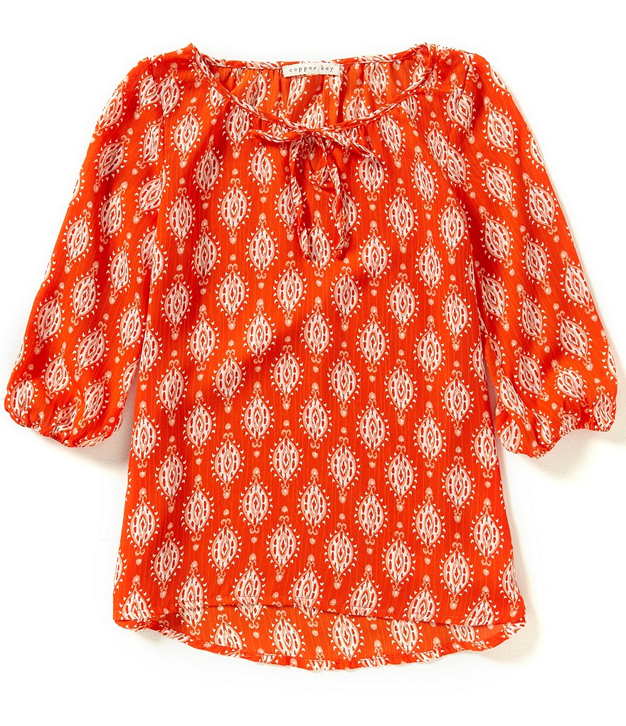 Copper Key Big Girls 7-16 Woven Printed Peasant Top
