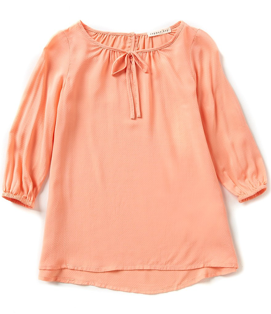 Copper Key Big Girls 7-16 Tie Neck Peasant Top