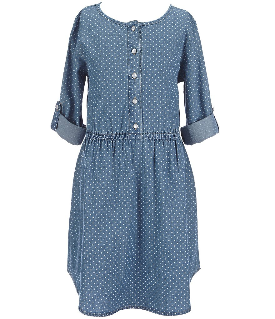 Copper Key Big Girls 7-16 Dotted Chambray Dress
