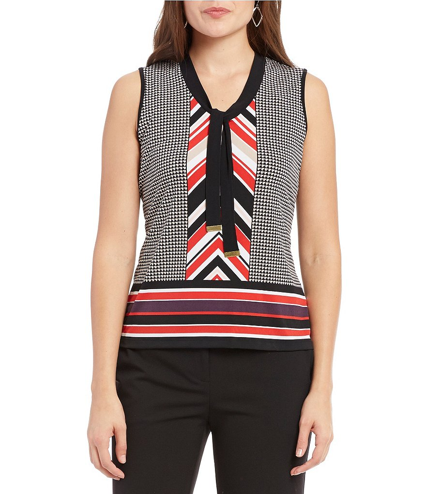 Jones New York Geometric Border Print Matte Jersey Tie-Neck Shell