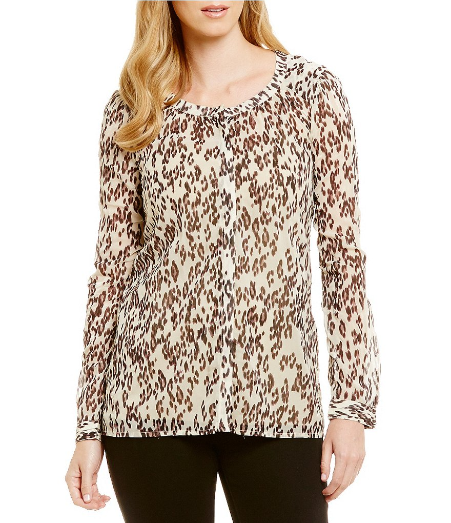 Lucky Brand Long Sleeve Leopard Print Shirt