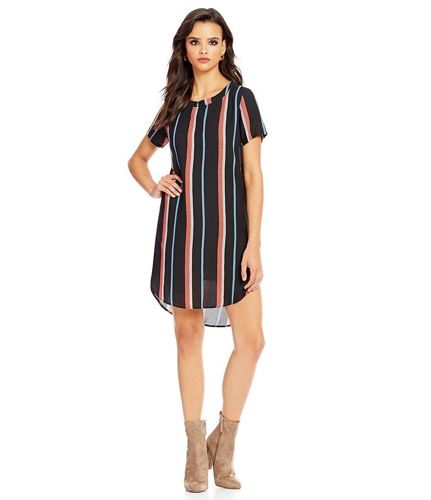Collective Concepts Short Sleeve Stripe Printed Dress