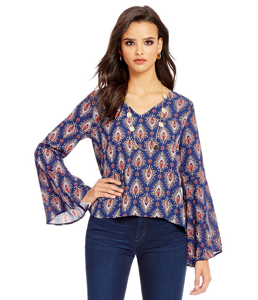 Collective Concepts Boho Print Bell Sleeve Top