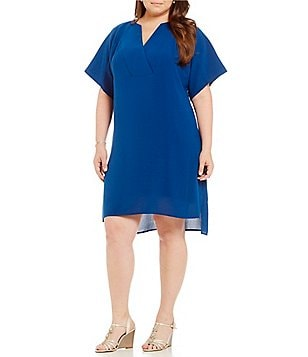 Adrianna Papell Plus Crepe Split-Neck Tunic Dress