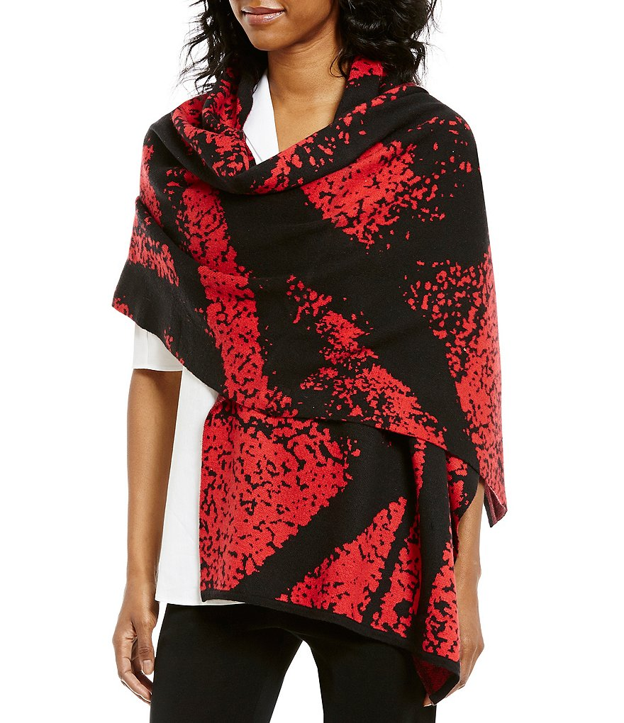 Ming Wang Printed Wrap Shawl