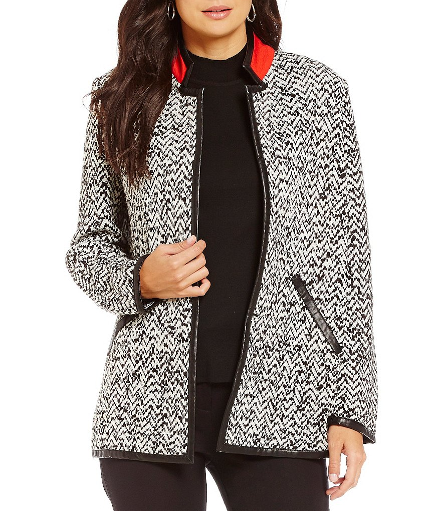 Ming Wang Herringbone Faux-Leather Trim Blazer