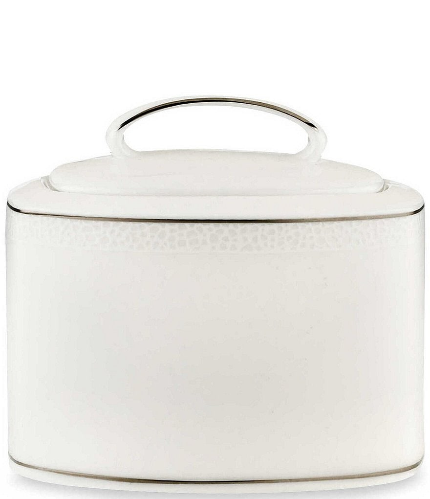 kate spade new york Cypress Point Striped Platinum Sugar Bowl