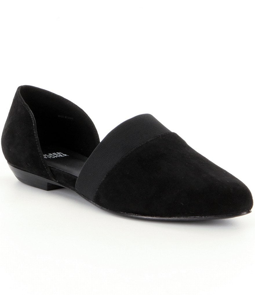 Eileen Fisher Flute d´Orsay Suede & Elastic Slip-On Almond Toe Flats