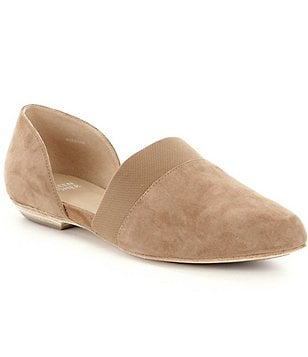 Eileen Fisher Flute d´Orsay Suede & Elastic Slip On Almond Toe Flats