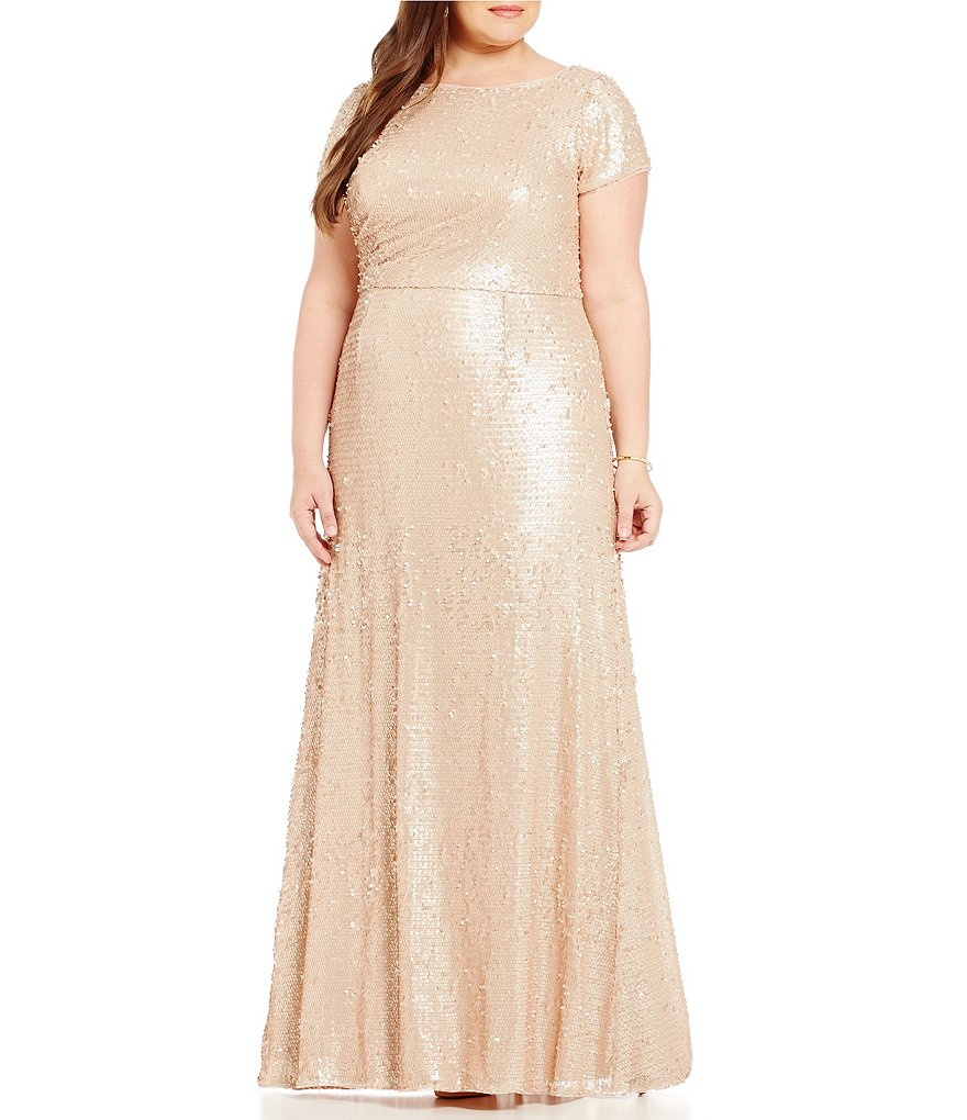 Adrianna Papell Plus Short-Sleeve Sequin Gown