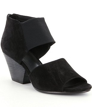Eileen Fisher Chat Stretch Mesh Suede Thick Banded Stacked Heel Sandals