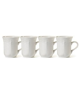 Mikasa French Countryside Rippled Baroque Stoneware Mugs, Set of 4