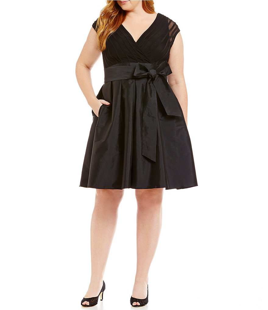 Adrianna Papell Plus Cap Sleeve Tie Waist Fit-and-Flare Dress