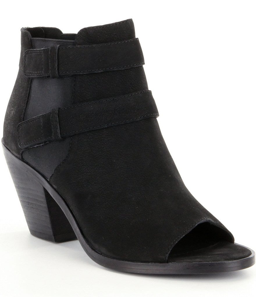 Eileen Fisher List Tumbled Nubuck & Elastic Double Strapped Peep Toe Booties