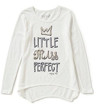 Miss Me Girls Big Girls 7-16 Little Miss Perfect Long-Sleeve High-Low Tee