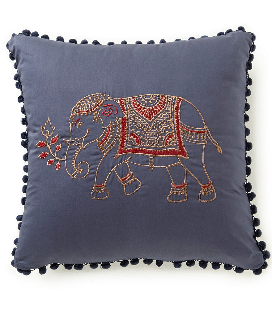 Studio D Uma Elephant-Embroidered Cotton Square Pillow