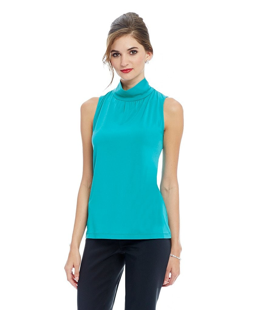Preston & York Leigh Mockneck Sleeveless Knit Blouse