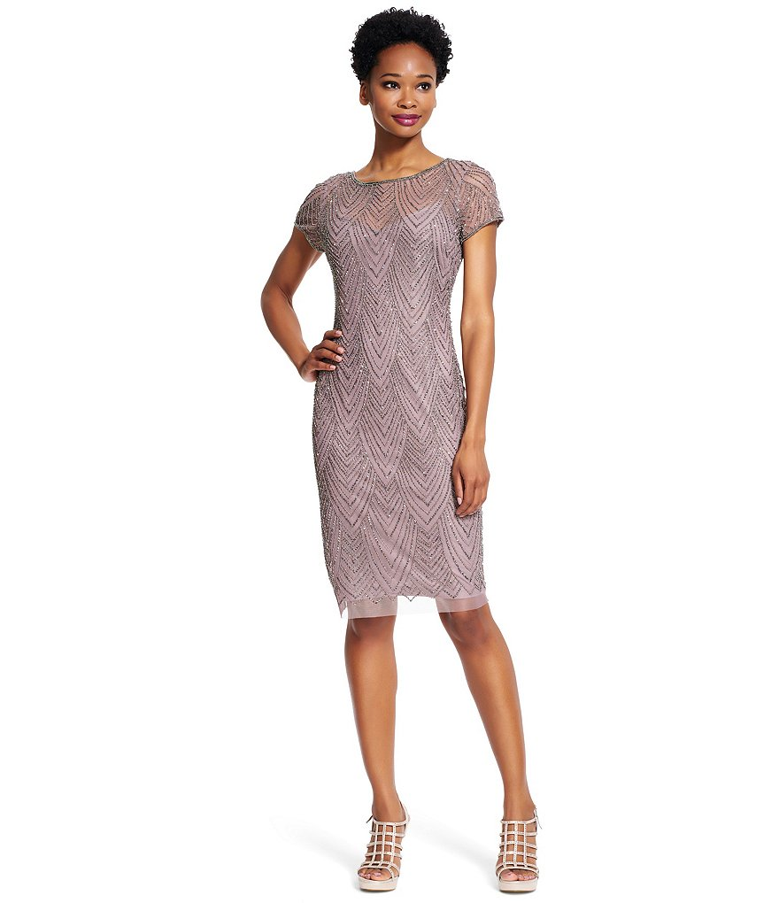 Adrianna Papell Plus Short-Sleeve Beaded Sheath Dress
