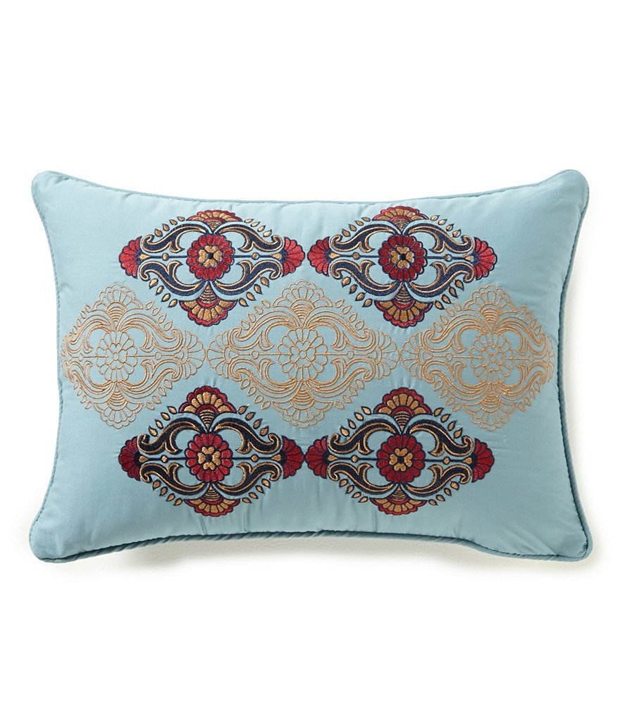 Studio D Uma Medallion-Embroidered Breakfast Pillow
