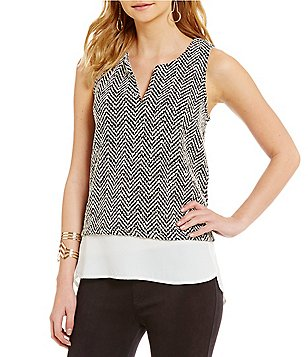 Sanctuary Autumn Split V-Neck Sleeveless Layered Shell